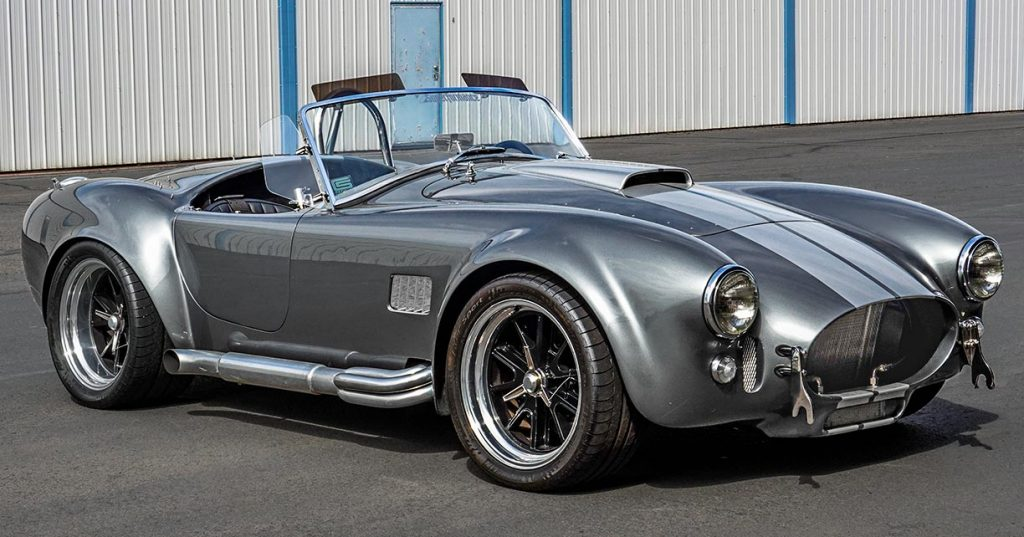 3/4-frontal view of Dark Silver Superformance 427SC Shelby classic Cobra for sale, SPO2938