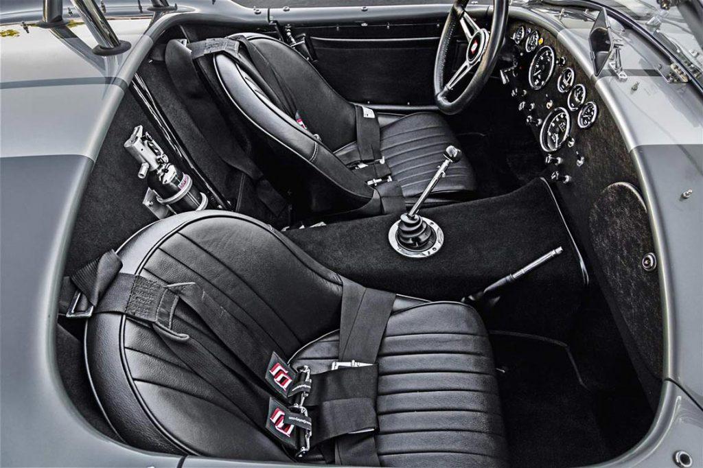 cockpit shot of Dark Silver Superformance 427SC Shelby classic Cobra for sale, SPO2938