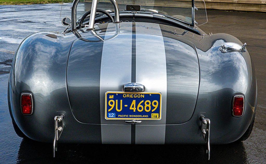 rear shot of Dark Silver Superformance 427SC Shelby classic Cobra for sale, SPO2938