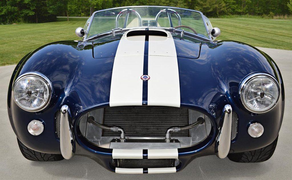 head-on frontal shot of Indigo Blue 427SC E.R.A. Shelby classic Cobra for sale, ERA#714