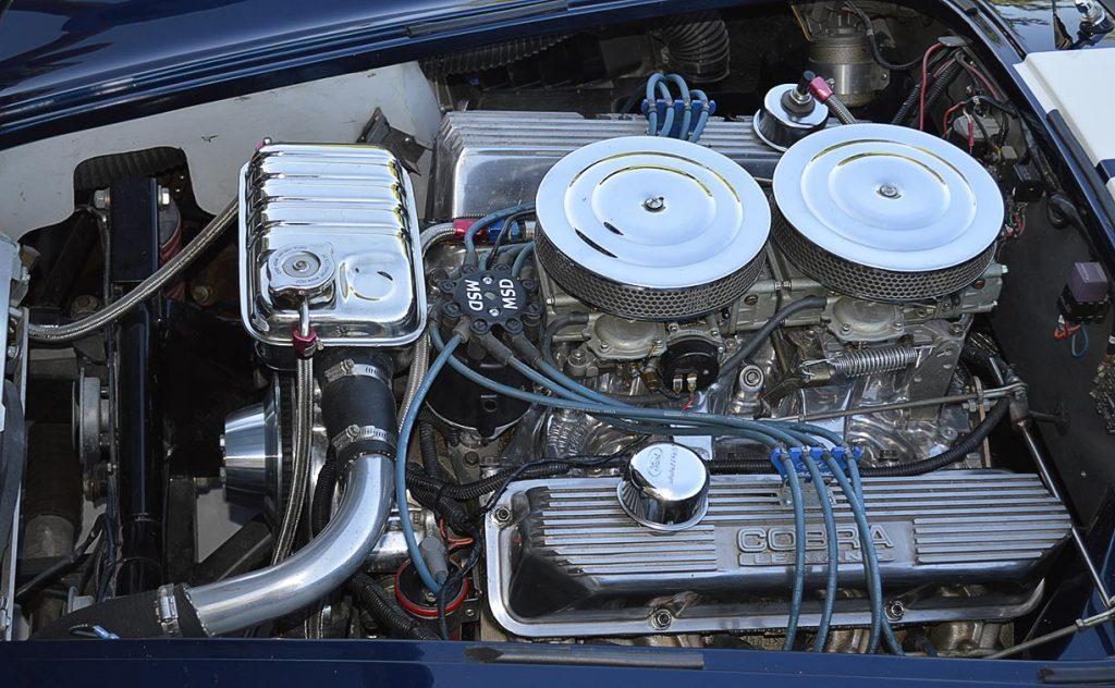 427 Shelby aluminum engine shot of Indigo Blue 427SC E.R.A. Shelby classic Cobra for sale, ERA#714