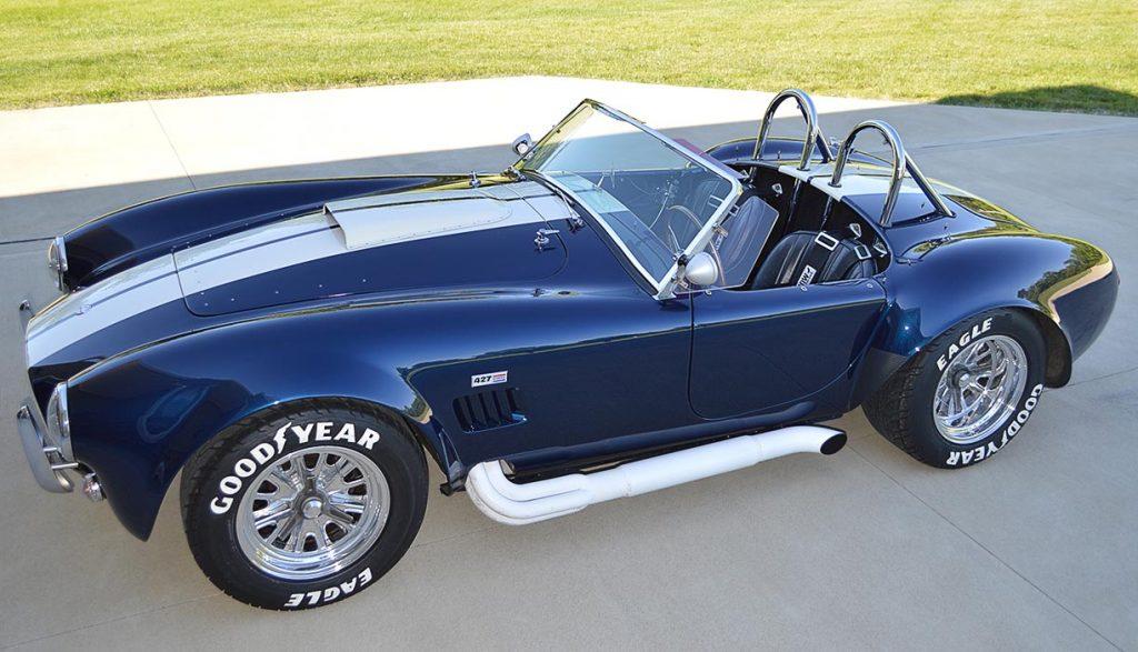 broadside shot (driver side) of Indigo Blue 427SC E.R.A. Shelby classic Cobra for sale, ERA#714