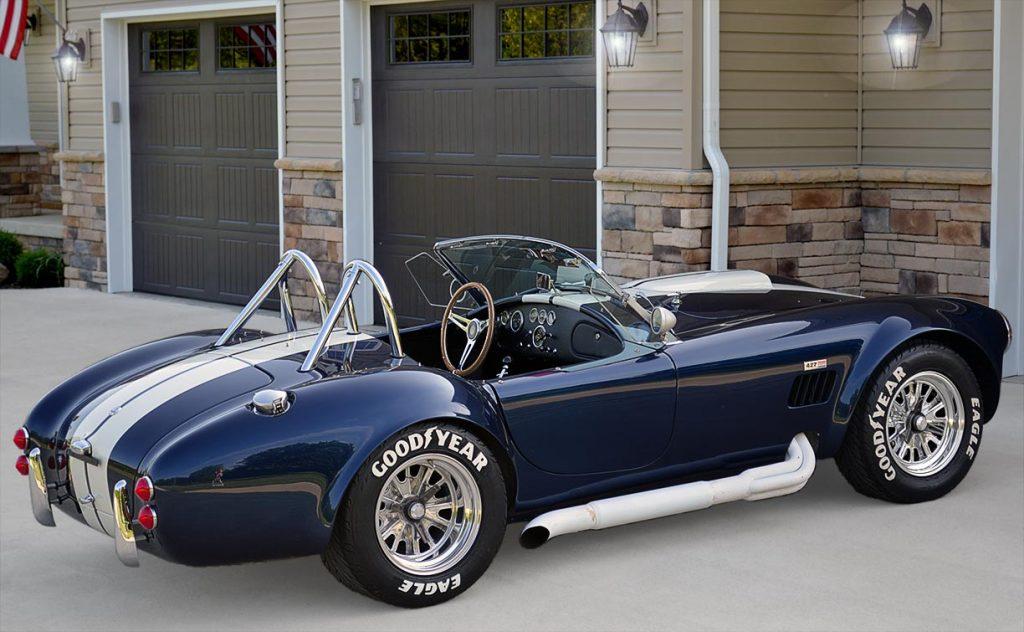 3/4-rear shot (passenger side) of Indigo Blue 427SC E.R.A. Shelby classic Cobra for sale, ERA#714