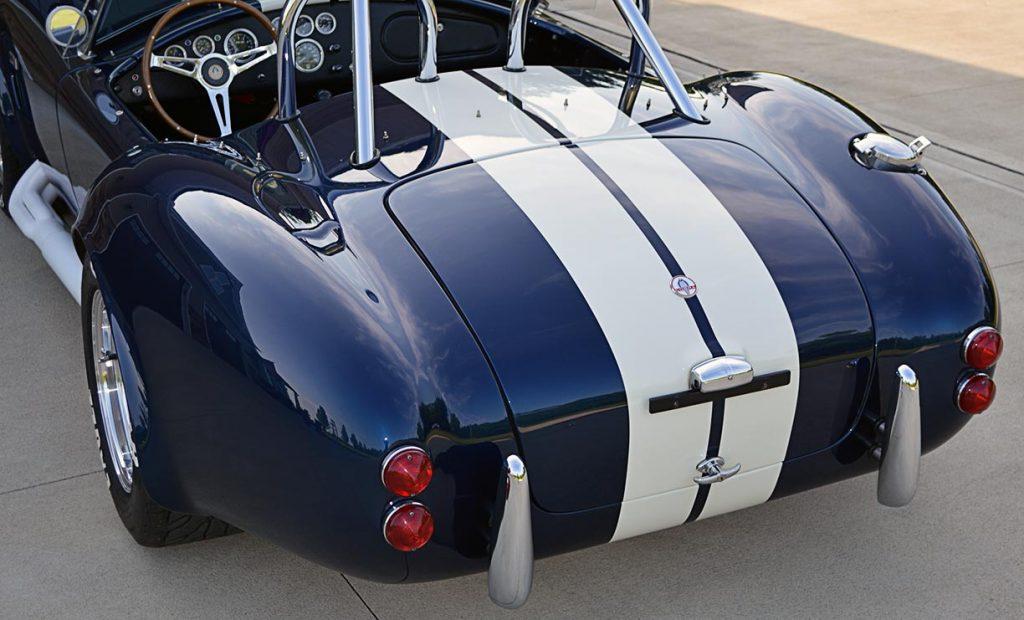 rear-quarter shot (driver side) of Indigo Blue 427SC E.R.A. Shelby classic Cobra for sale, ERA#714