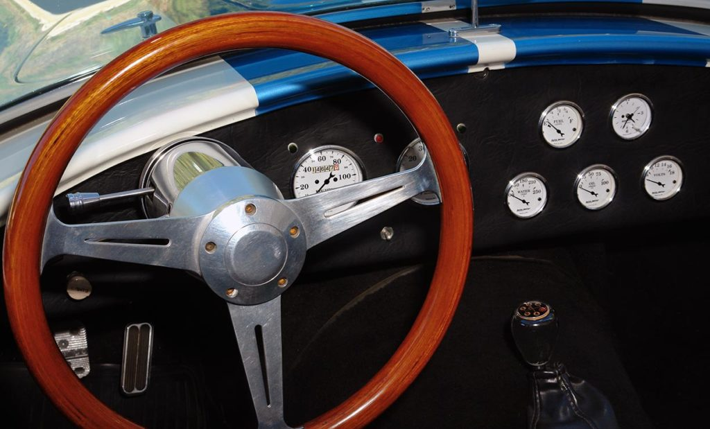 photo of dashboard of Wimbledon White JCF (John's Custom Fabrication) pre-owned Shelby classic Cobra for sale
