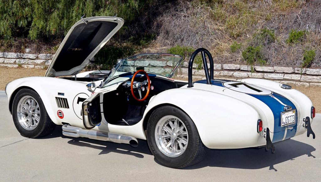 """all decks open"" shot of Wimbledon White JCF (John's Custom Fabrication) pre-owned Shelby classic Cobra for sale"