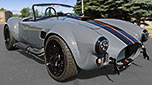 3/4-frontal view thumbnail image of Grigio Telestro/black LeMans stripes Backdraft Racing 427SC Shelby classic Cobra for sale, BDR1932