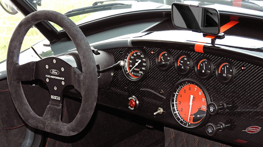 dashboard shot#1 of Grigio Telestro/black LeMans stripes Backdraft Racing 427SC Shelby classic Cobra for sale, BDR1932