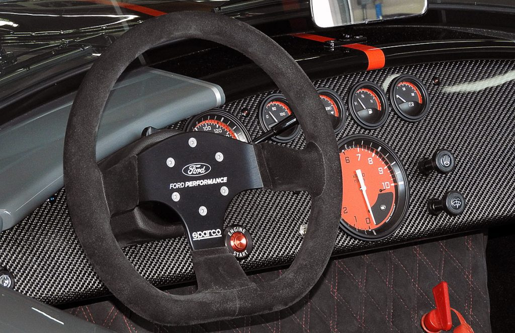 dashboard shot#2 of Grigio Telestro/black LeMans stripes Backdraft Racing 427SC Shelby classic Cobra for sale, BDR1932
