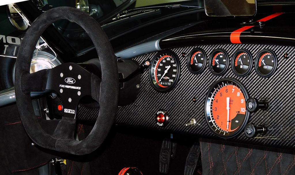 dashboard shot#3 of Grigio Telestro/black LeMans stripes Backdraft Racing 427SC Shelby classic Cobra for sale, BDR1932