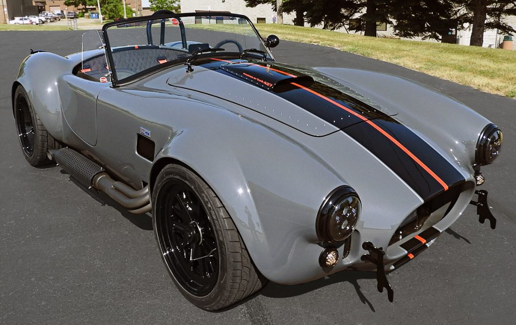 3/4-frontal view (passenger side#2) of Grigio Telestro/black LeMans stripes Backdraft Racing 427SC Shelby classic Cobra for sale, BDR1932
