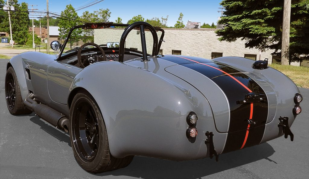 rear-quarter view#2 (driver side) of Grigio Telestro/black LeMans stripes Backdraft Racing 427SC Shelby classic Cobra for sale, BDR1932