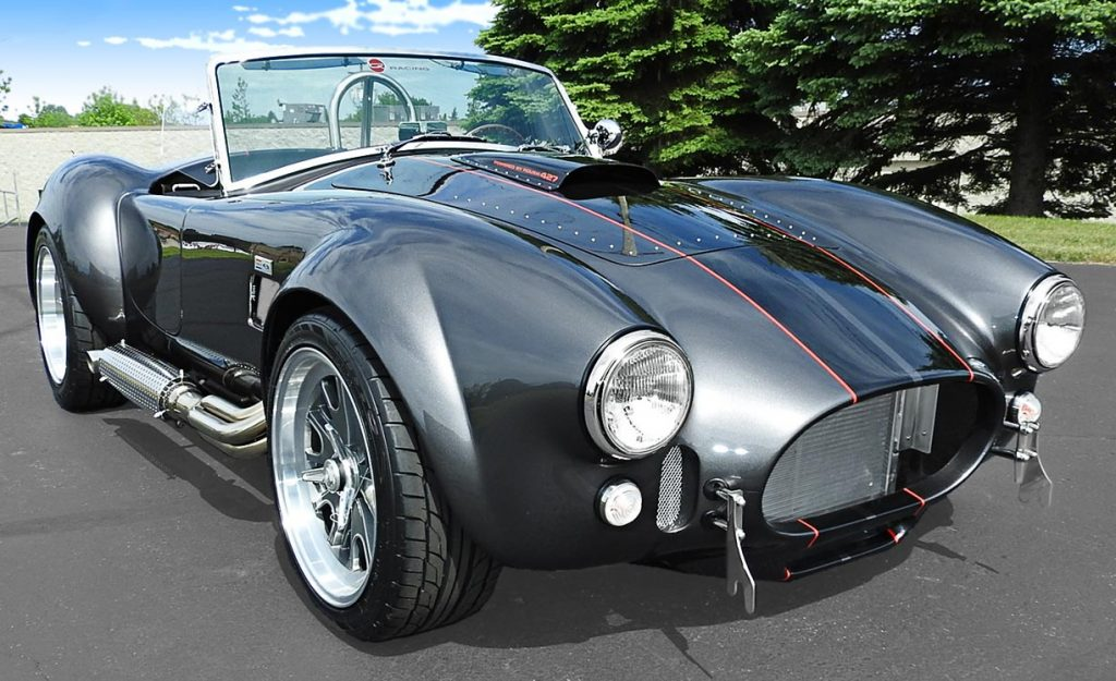 3/4-frontal shot (passenger side) of Magnetic Gray/black LeMans stripes 427SC Backdraft Racing (classic Cobra replica) for sale, BDR2078
