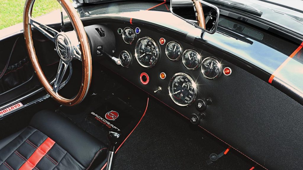 dashboard shot#2 of Magnetic Gray/black LeMans stripes 427SC Backdraft Racing (classic Cobra replica) for sale, BDR2078