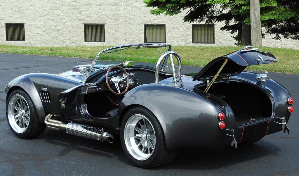 """all decks open"" shot of Magnetic Gray/black LeMans stripes 427SC Backdraft Racing (classic Cobra replica) for sale, BDR2078"