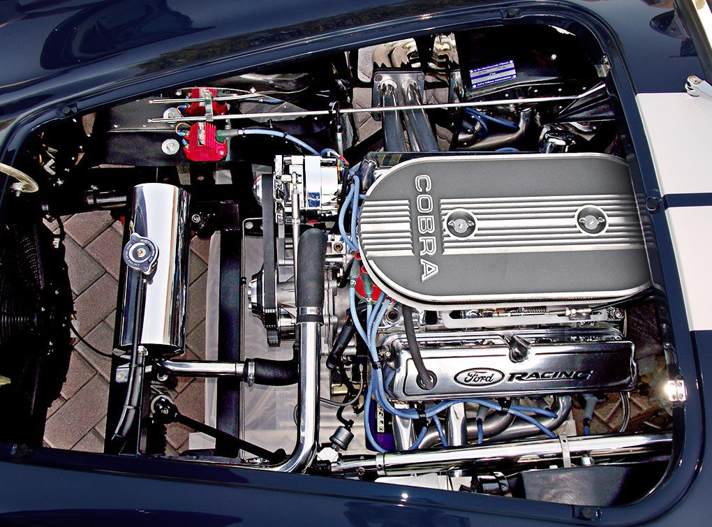 Ford Racing 347 cid engine photo of Indigo Blue Backdraft Racing 427SC Shelby classic Cobra for sale, BDR838