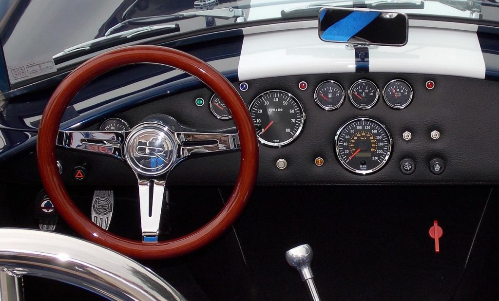 instrument panel shot (driver side) of Indigo Blue Backdraft Racing 427SC Shelby classic Cobra for sale, BDR838