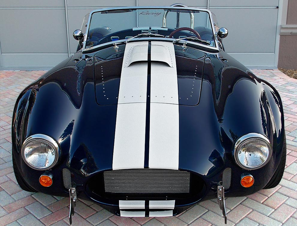 head-on frontal shot of Indigo Blue Backdraft Racing 427SC Shelby classic Cobra for sale, BDR838