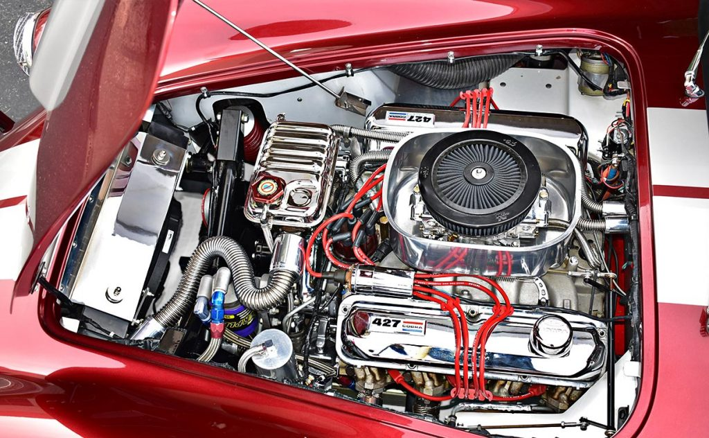 428FE engine photo (driver side) of Candy Apple Red E.R.A. 427SC Shelby classic Cobra replica for sale