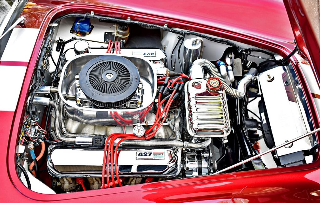 428FE engine photo (passenger side) of Candy Apple Red E.R.A. 427SC Shelby classic Cobra replica for sale