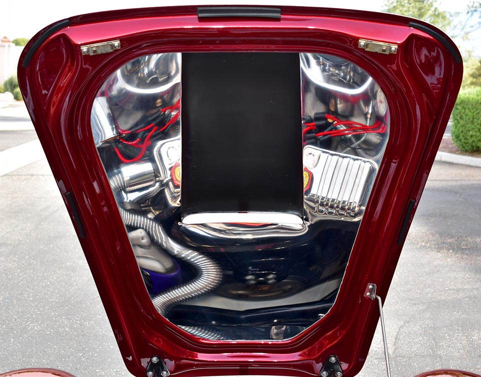 underhood shot of Candy Apple Red E.R.A. 427SC Shelby classic Cobra replica for sale