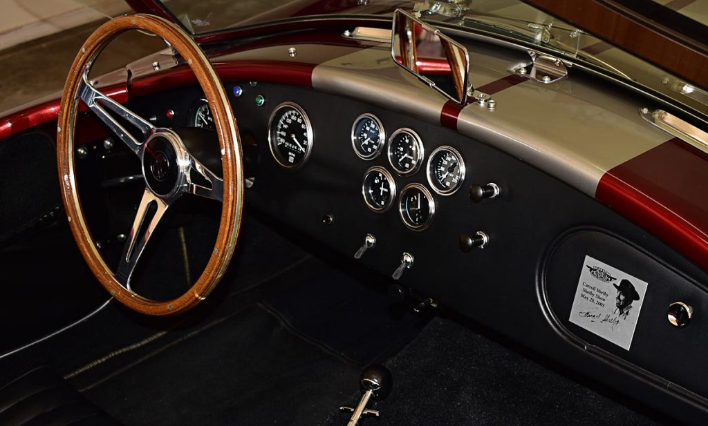 dashboard shot#1 of Candy Apple Red E.R.A. 427SC Shelby classic Cobra replica for sale