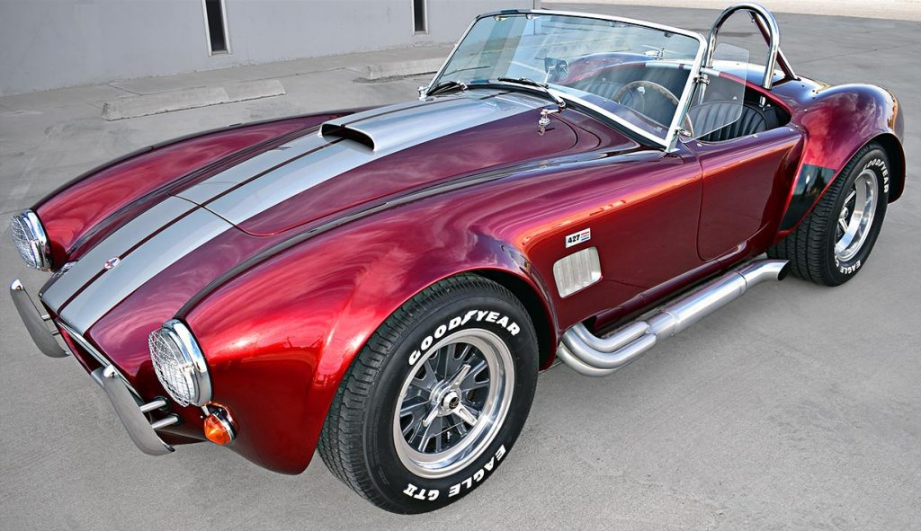 3/4-frontal shot (driver side) of Candy Apple Red E.R.A. 427SC Shelby classic Cobra replica for sale