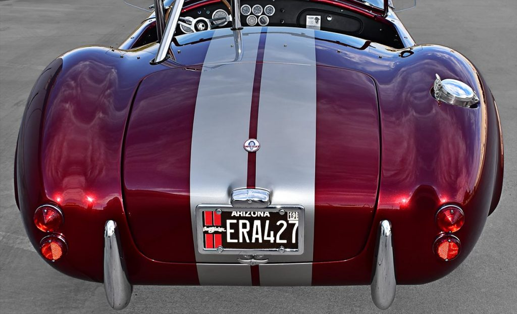 head-on rear shot of Candy Apple Red E.R.A. 427SC Shelby classic Cobra replica for sale