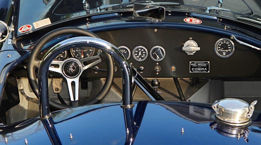 dashboard shot (thru rollbar) of Ford Dark Blue 289 USRRC E.R.A. (Shelby classic style) Cobra for sale
