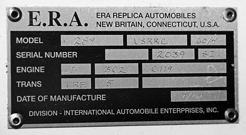 closeup of E.R.A. chassis plaque on Ford Dark Blue 289 USRRC E.R.A. (Shelby classic style) Cobra for sale