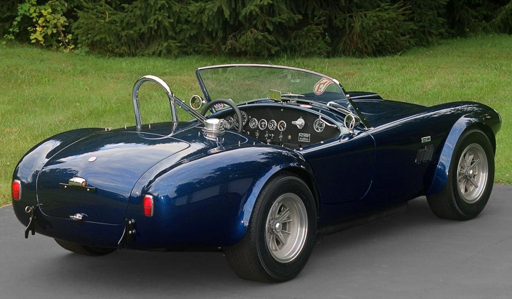 3/4-rear shot (passenger side) of Ford Dark Blue 289 USRRC E.R.A. (Shelby classic style) Cobra for sale