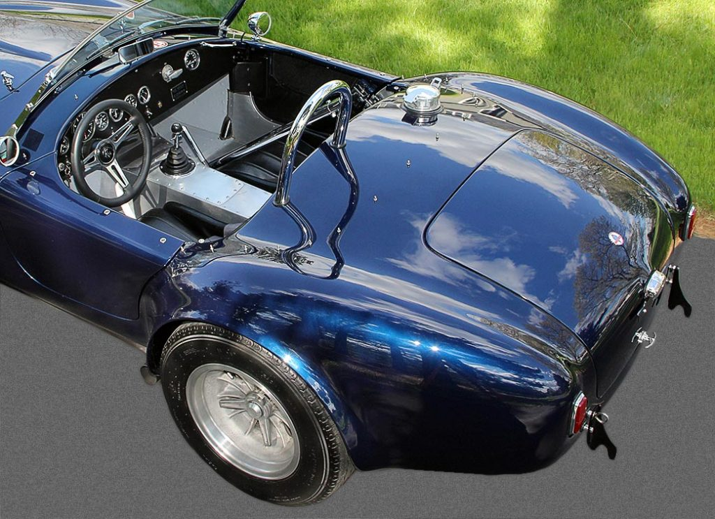 elevated rear-quarter shot (driver side) of Ford Dark Blue 289 USRRC E.R.A. (Shelby classic style) Cobra for sale