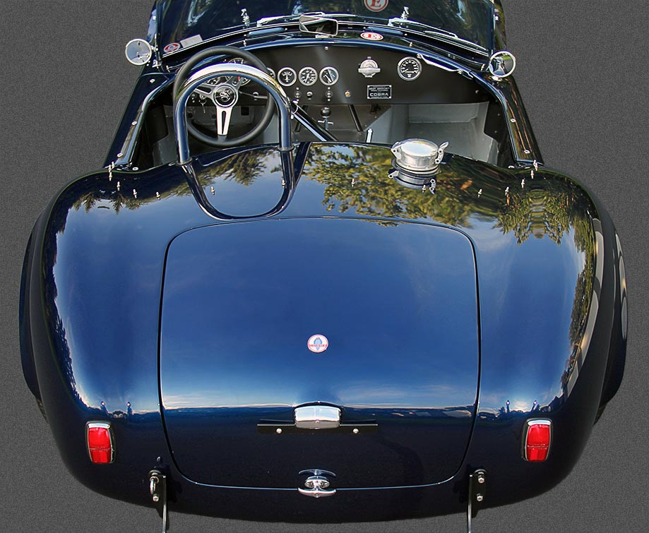 elevated rear shotof Ford Dark Blue 289 USRRC E.R.A. (Shelby classic style) Cobra for sale