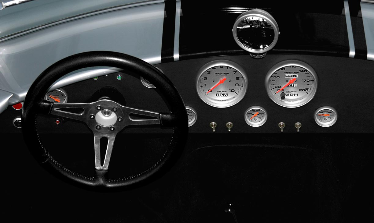 dashboard shot#2 of of Stuttgart Silver Cutting Edge Replicas 427SC Shelby classic Cobra for sale by owner.