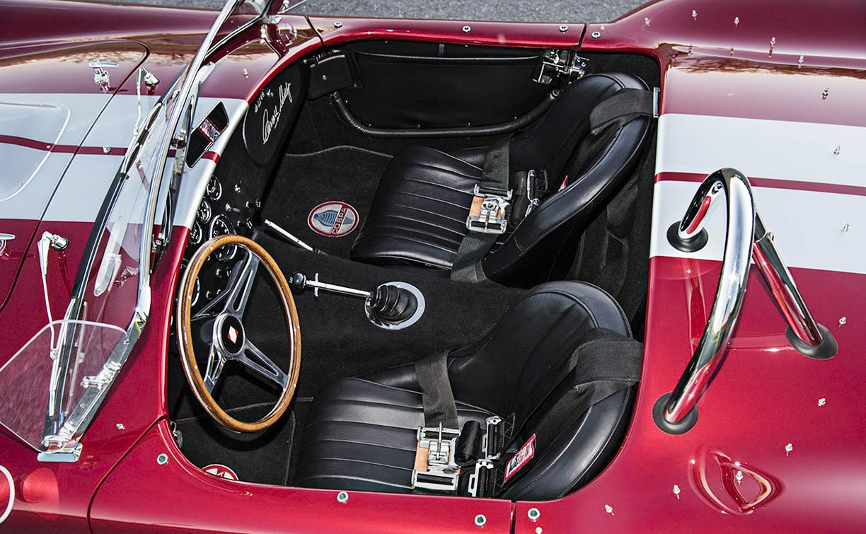 cockpit shot (from driver side) Sunset Red Superformance 427SC Shelby classic Cobra for sale, SPO2249