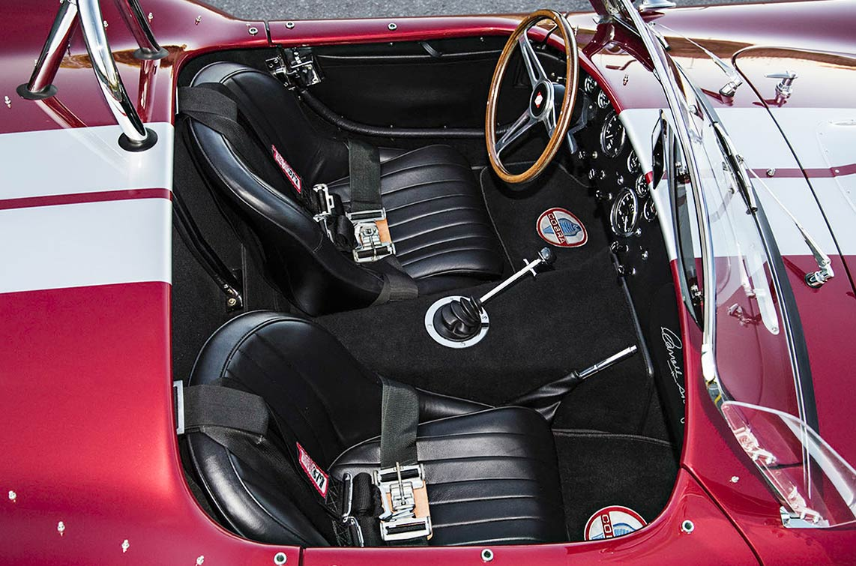 cockpit shot (from passengere side) Sunset Red Superformance 427SC Shelby classic Cobra for sale, SPO2249