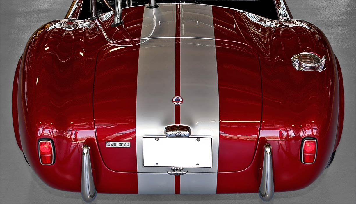 head-on rear shot of Sunset Red Superformance 427SC Shelby classic Cobra for sale, SPO2249