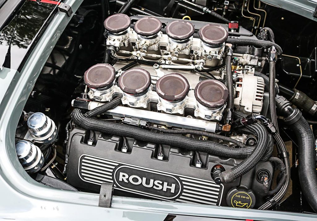 5.0L Roush 8-Stack Coyote V8 engine photo#2 of of Grigio Medio (medium gray) Superformance 427SC MkIII Shelby classic Cobra for sale, SPO3303