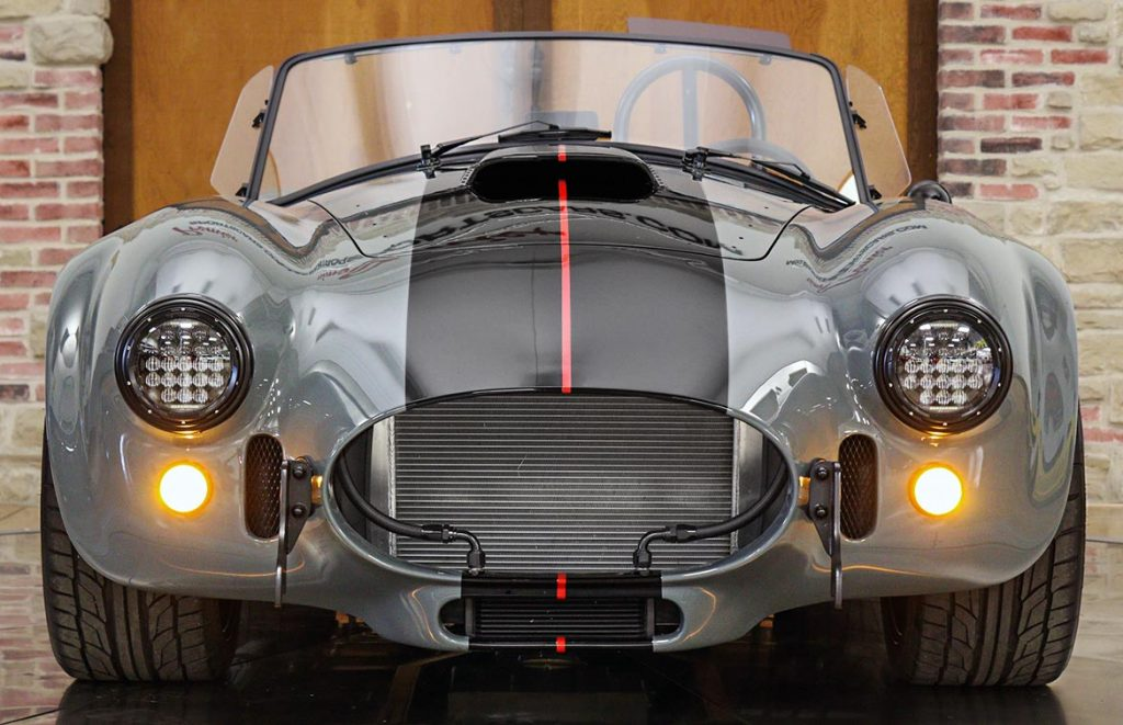 head-on frontal shot of Grigio Medio (medium gray) Superformance 427SC MkIII Shelby classic Cobra for sale, SPO3303