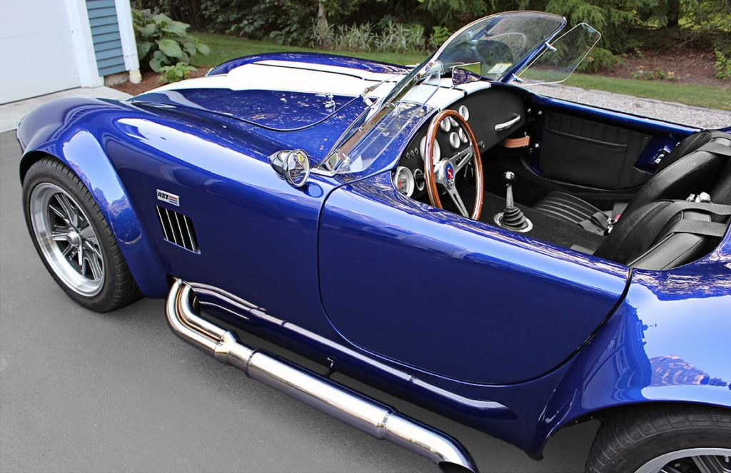 front-quarter shot of Ford Deep Impact Blue Shelby classic 427 Cobra replica by Factory Five Racing, for sale by owner