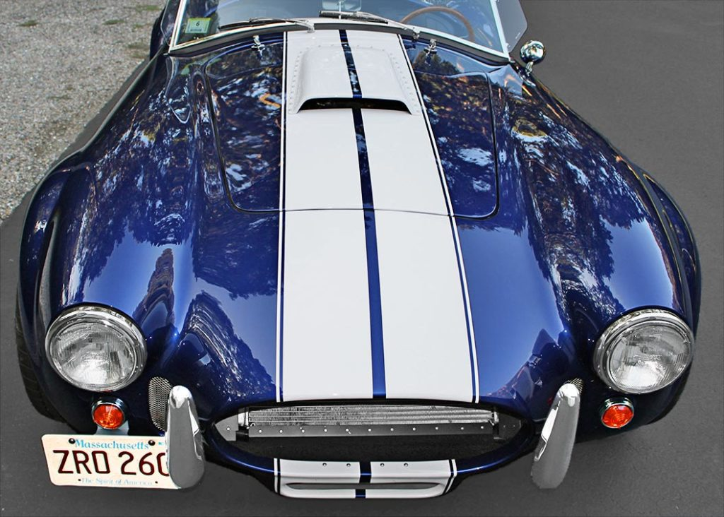head-on frontal shot of Ford Deep Impact Blue Shelby classic 427 Cobra replica by Factory Five Racing, for sale by owner