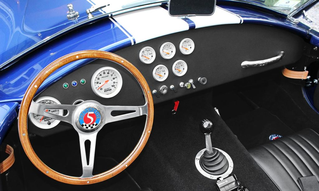 dashboard shot#1 (from driver side) of Ford Deep Impact Blue Shelby classic 427 Cobra replica by Factory Five Racing, for sale by owner