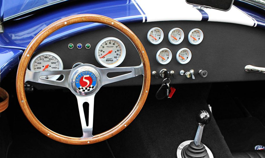 dashboard shot#2 (from driver side) of Ford Deep Impact Blue Shelby classic 427 Cobra replica by Factory Five Racing, for sale by owner