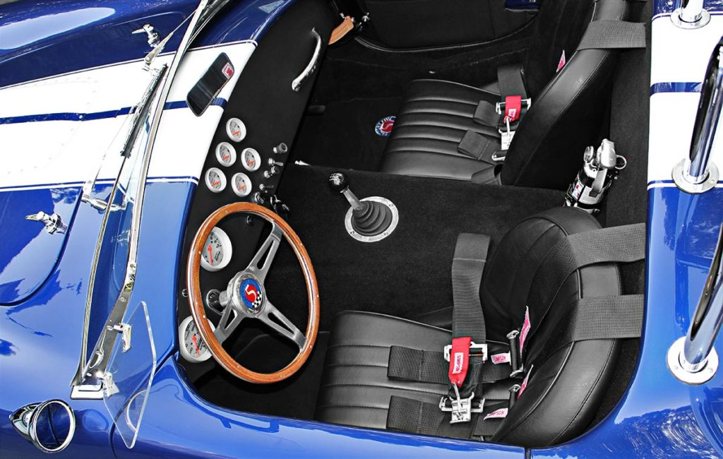 OH cockpit shot (from driver side) of Ford Deep Impact Blue Shelby classic 427 Cobra replica by Factory Five Racing, for sale by owner