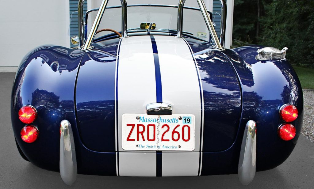 head-on rear shot of Ford Deep Impact Blue Shelby classic 427 Cobra replica by Factory Five Racing, for sale by owner