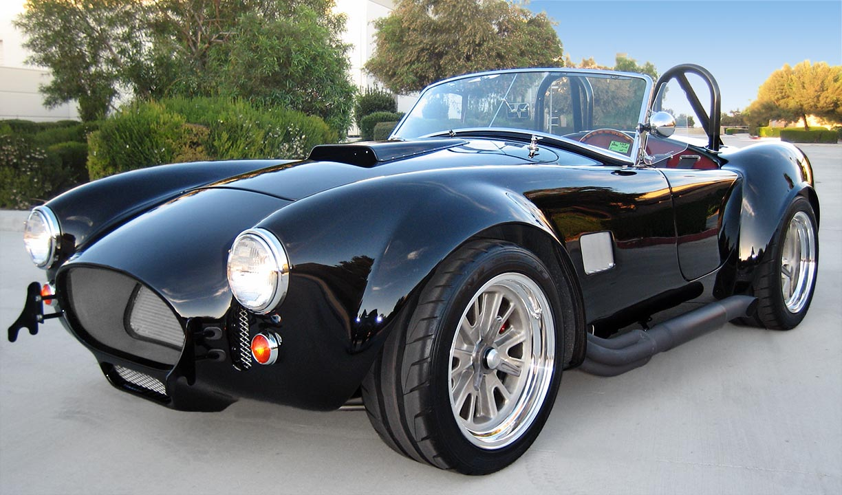 3/4-frontal (driver side) photo of black Factory Five Racing MkIII 427SC Shelby classic Cobra replica for sale by owner