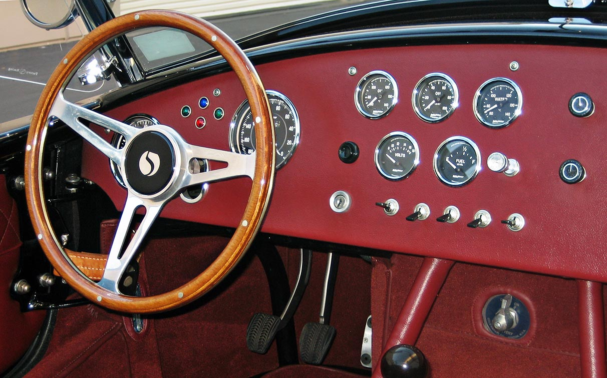 dashboard shot of black Factory Five Racing MkIII 427SC Shelby classic Cobra replica for sale by owner