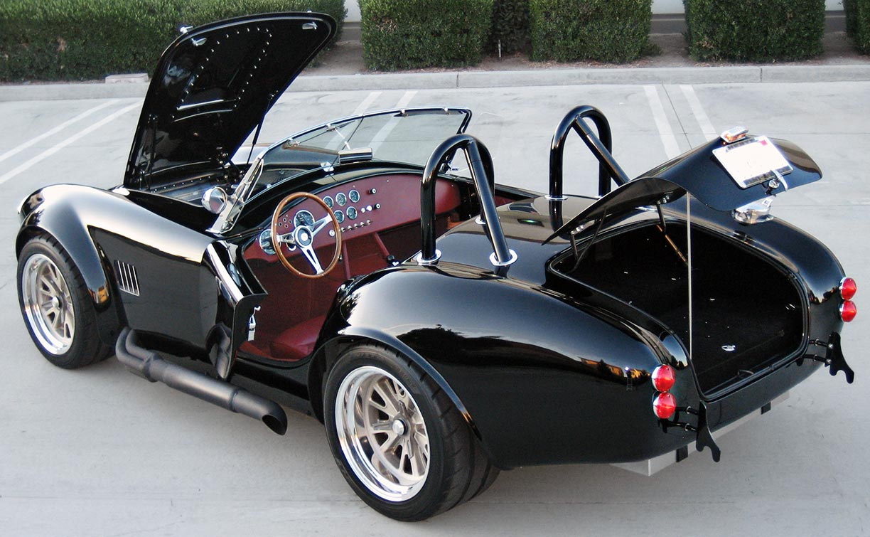 """""""all decks open"""" shot of black Factory Five Racing MkIII 427SC Shelby classic Cobra replica for sale by owner"""