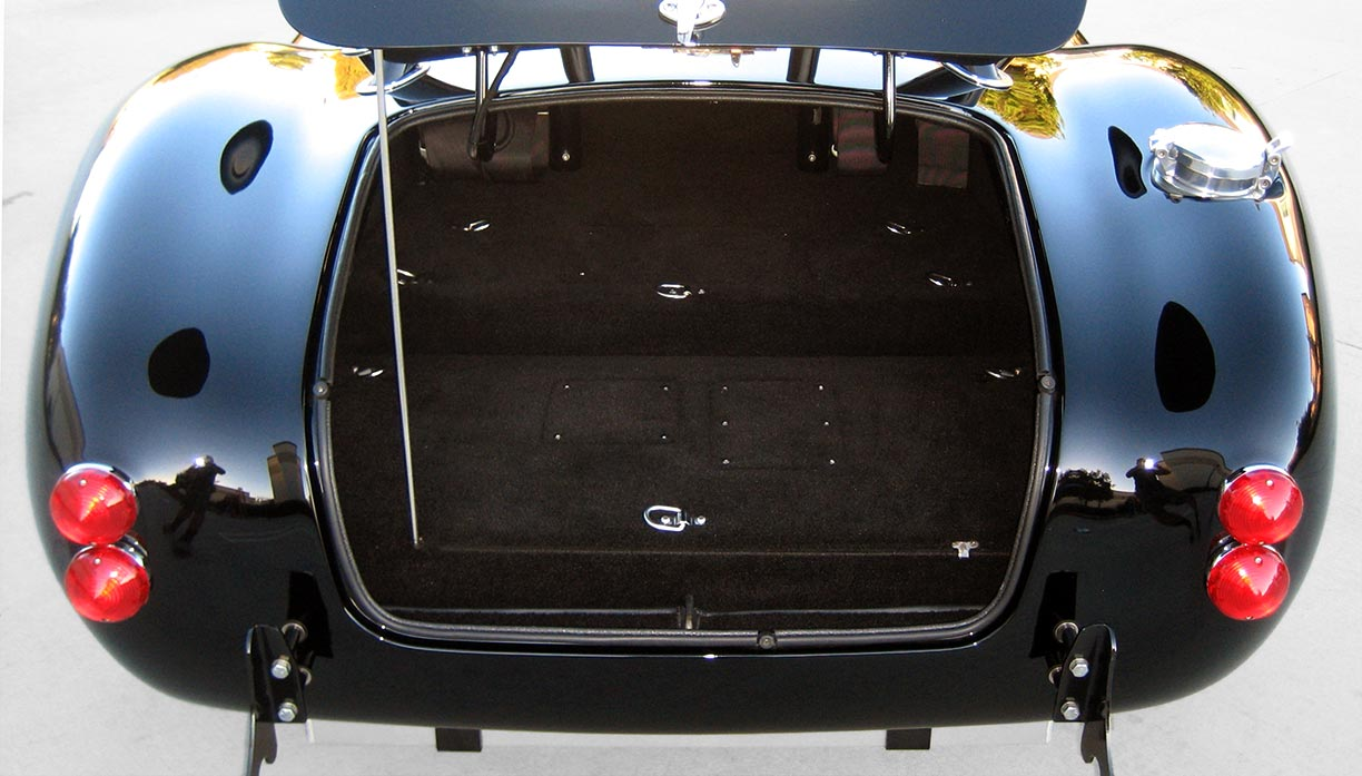 luggage compartment shot of black Factory Five Racing MkIII 427SC Shelby classic Cobra replica for sale by owner
