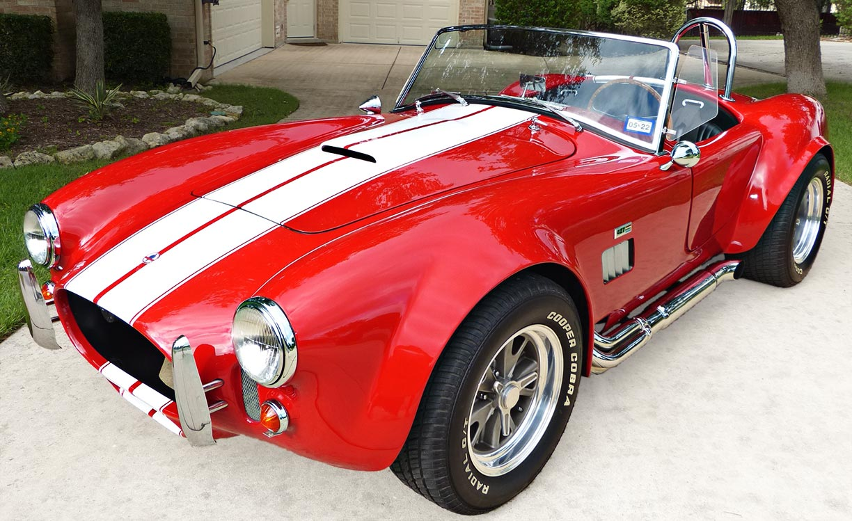 3/4-frontal shot (driver side) of Rosso Corsa Red 427SC Shelby classic Shell Valley Cobra for sale by owner